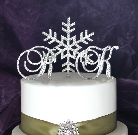 Snowflake Monogram Swarovski Crystal Winter Wonderland Wedding Cake Topper Any Letters A B C D E F G H I J K L M N O P Q R S T U V W Xyz