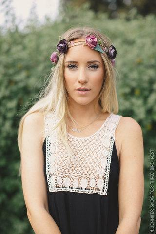 Свадьба - Floral BOHO Head Piece, Flower Crown, Boho Flower Headband, Wedding Headpiece, Bohemian, Headpiece, Purple/Lavender Flowers