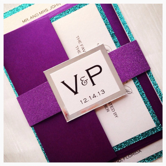 Mariage - Wedding Invitation, Teal and Purple Glitter Wedding Invitation with monogram belt and RSVP card