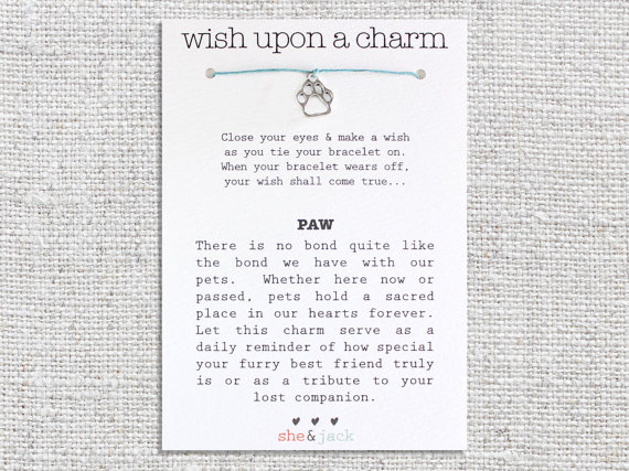 Mariage - PAW - Wish Bracelet - Silver Charm - Hemp Cord - Choose Your Own Color
