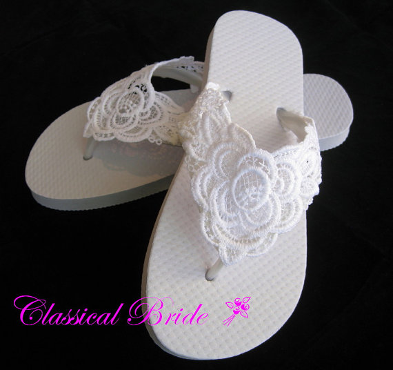 LACE EMBROIDERED Wedding Bridal Flip Flops In Ivory Or White For ...