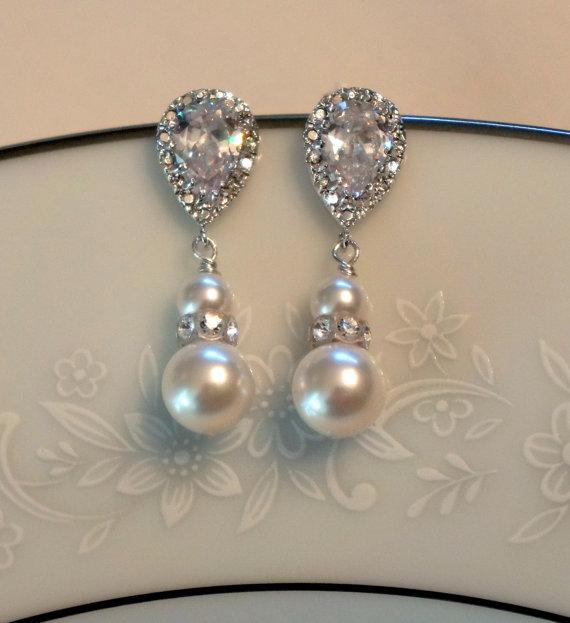 Mariage - Pearl Bridal Earrings Crystal Bridal Earrings Pearl Bridal Jewelry Wedding Jewelry Pearl Bridesmaid Earrings