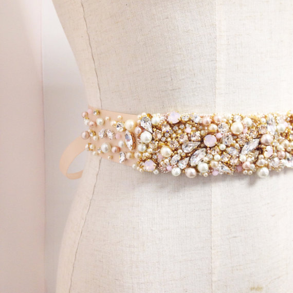 Mariage - Blush and Gold Crystal Bridal Belt- Custom- Swarovski Crystal Bridal Sash- One-of-a-Kind Hand-Beaded -Vintage Glamour