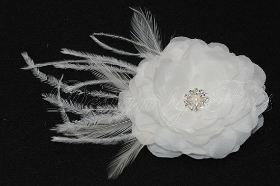 Mariage - Bridal Hairpiece Bridal Accessories - Diamond White Silk Flower with Rhinestone Pearl Feathers Accents Bandeau Veil READY to SHIP