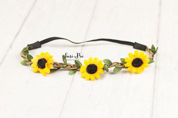 Mariage - Dainty Sunflower Baby headband...Boho Headband. Halo Headband..Flower Crown..Rustic Burlap Wedding Headband..newborn..photography props
