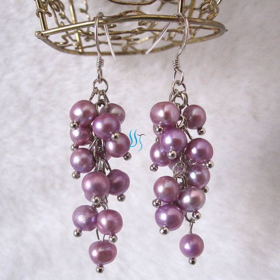 Mariage - Pearl Cluster Earrings - 4-5mm Purple Freshwater Pearl Cluster Earrings D11S - Free shipping