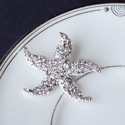 Mariage - SALE Rhinestone Bridal Brooch Pin Crystal Starfish Brooch Pin Beach Wedding Jewelry BR001LX
