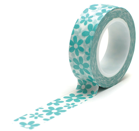 Hochzeit - Teal Aqua Flower Washi Tape perfect  for Scrapbooking, Rubber Stamping, Gift Wrap, Weddings, Spring, Summer, Bouquets, Gardens, Picnics