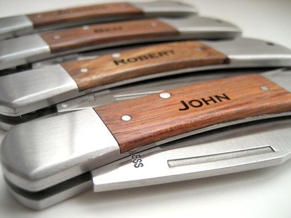 Mariage - Engraved Knife - Wood Handle Pocket Knife – Personalized Groomsmen Gift - Monogrammed Engraved Pocket Knife - Wedding Party Gift
