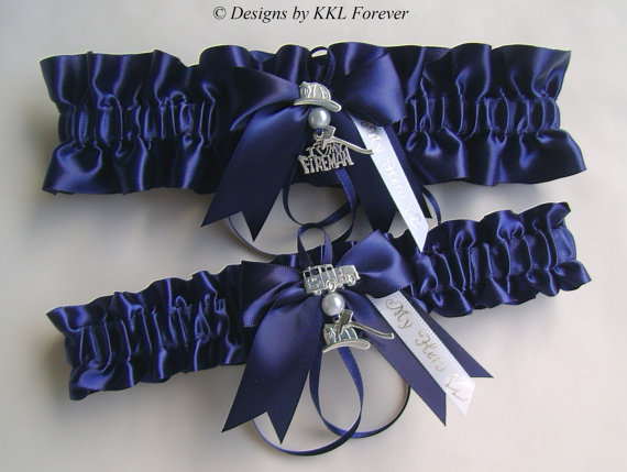 Свадьба - Firefighter Wedding Garters I Love My Fireman Charm Handmade Navy Blue Garters