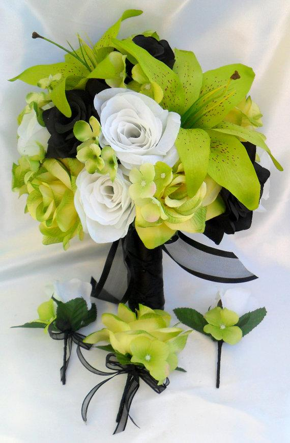 """Hochzeit - RESERVED LISTING 9 Piece Package Wedding Bridal Bride Maid Of Honor Bridesmaid Bouquet Boutonniere Corsage Silk Flower """"Lily Of Angeles"""""""