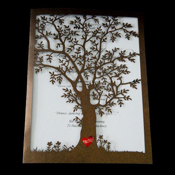 Hochzeit - 75pcs paper cut tree wedding invitations