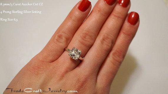 Asscher Cut CZ Engagement Ring 4 Prong Sterling Silver 2.25- 3.2 Carat  Cubic Zirconia Promise Ring Solitaire Faux Diamond Simulant Size 3-13