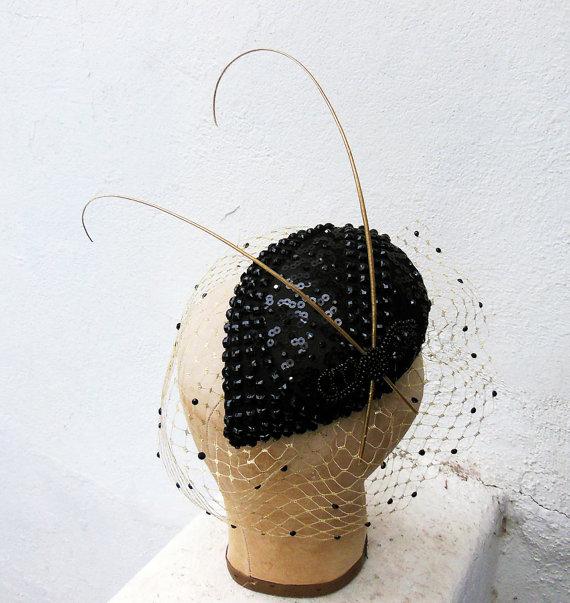 Mariage - Black Beaded Teardrop Cocktail Hat, Gold Veil, Swarovski Crystal, 1940's High Fashion, Pin Up, Black Fascinator, Batcakes Couture
