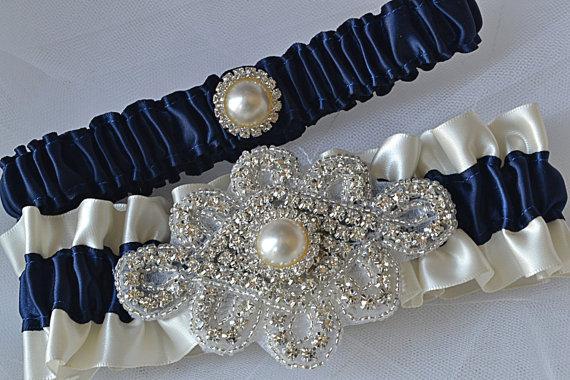 Mariage - Wedding Garter Set - Navy Blue Garters And Ivory Satin With Rhinestone Embellishments, Garter Belts, Bridal Garter Set