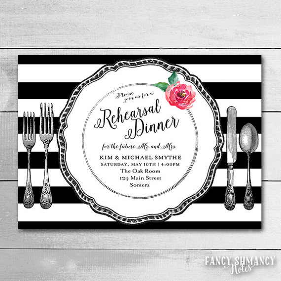 Hochzeit - Rehearsal Dinner Invitation / Custom Stripe Color / Vintage Place Setting / Wedding Rehearsal / Printable file 4285