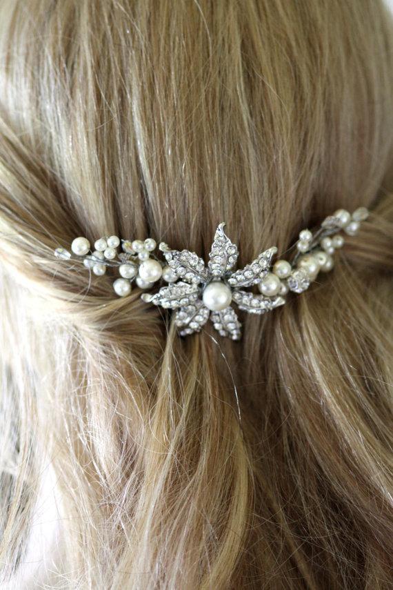 Bridal Comb Wedding Hair Comb Crystal Flower Comb Daisy Hair