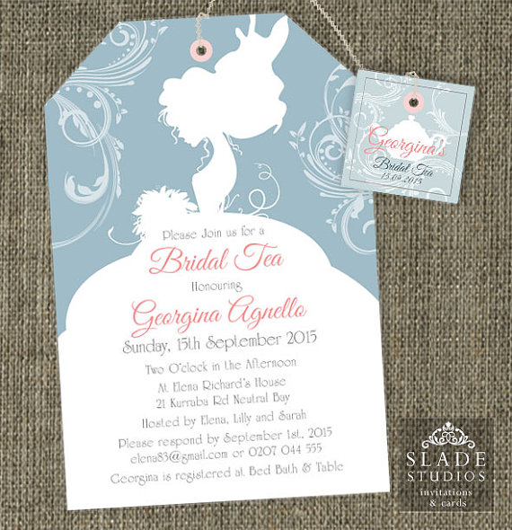 Bride Silhouette Shower Tea Invitations Bridal High Traditional Bag Invitation Printable