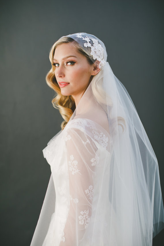 Lace Cap Veil Wedding Juliet Bridal French Kate Moss Ivory Waltz Two Tier 1551