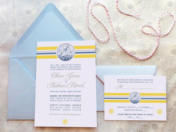 Hochzeit - Regatta Nautical Wedding Invitations - Sailing Wedding - Beach Wedding - Summer Wedding - Ocean Wedding - Destination Wedding