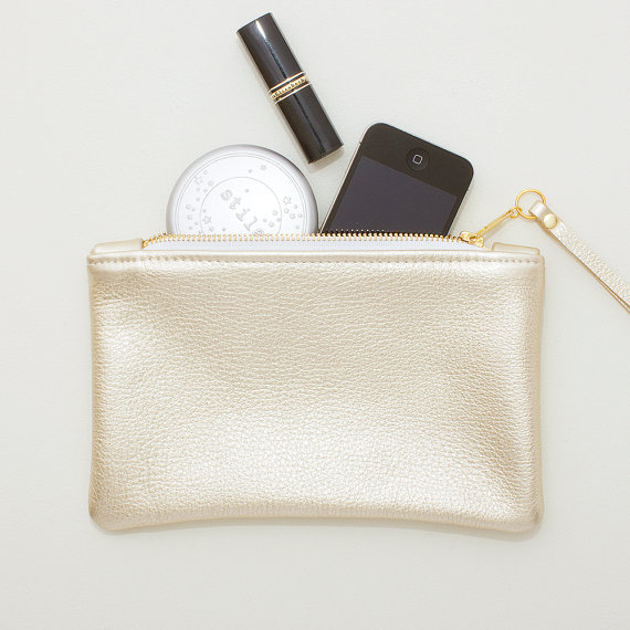 Mariage - Metallic Platinum Gold Leather Zipper Wristlet, Zipper Pouch, Cell Phone Pouch, Evening Clutch, Wedding Clutch