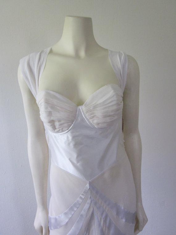 Свадьба - 1990s Unworn White Silk Chiffon Nightgown, Size M