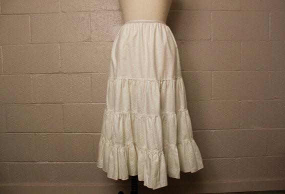 Свадьба - Vintage 1950's White Cotton Petticoat Half Slip Large
