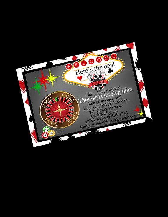Casino Party Invitation 60th Birthday Blackjack Bachelor Party – Casino Birthday Party Invitations
