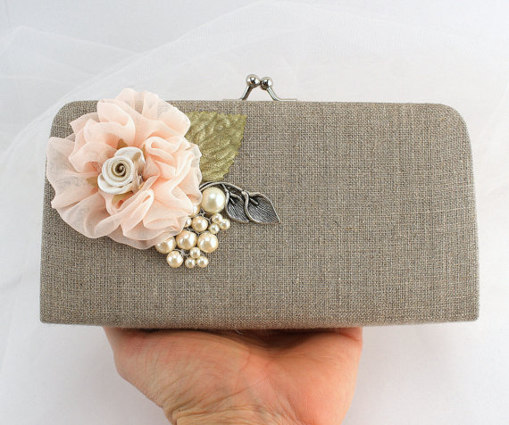 Свадьба - Linen Clutch, Bridal Handbag, Shabby Chic, Rustic Wedding in Ivory, Silver, Peach and Sage Green with  Chiffon and Pearls- Vintage Inspired