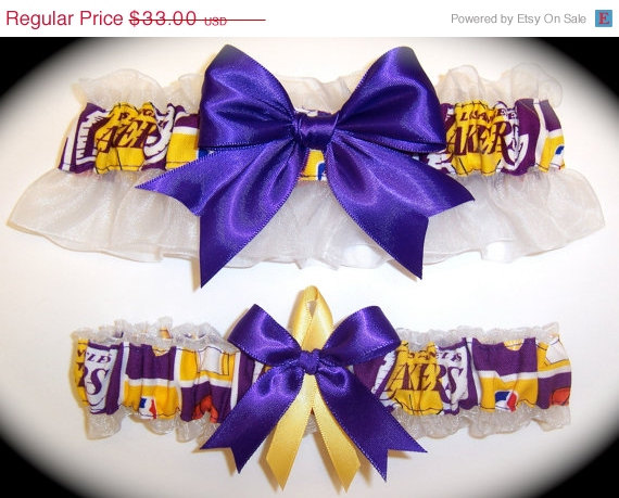 Свадьба - ON SALE Handmade Wedding Garter Set Los Angeles Lakers Keepsake and Toss Bridal pg1