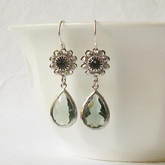 Mariage - Grey Silver Crystal Drop Earrings