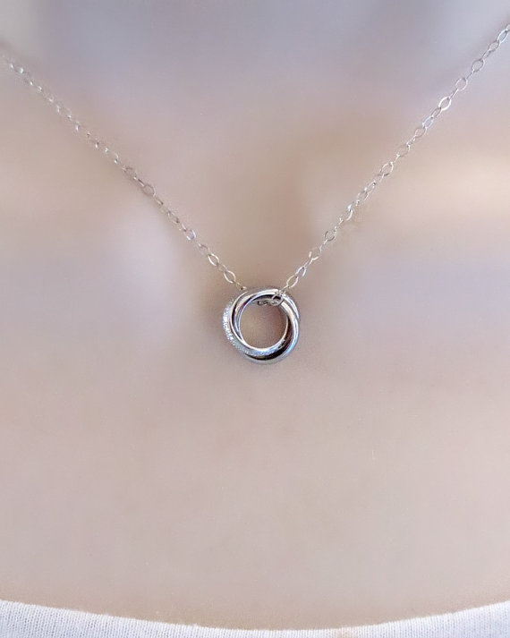 3 Ring Necklace Infinity Sisters Bff Mom Gift Wedding Jewelry Dainty Gifts Under 25 Birthday