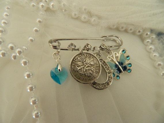 Something Old New Borrowed Blue Brides Keepsake Pin