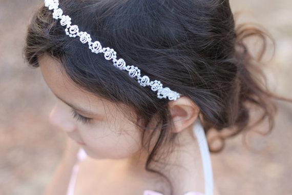 Свадьба - Flower Girl Headband Pearls and Lace Wedding Bridal, Christening, Child Headband Baby Girl
