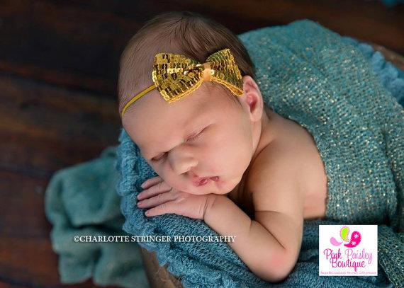 Baby Headbands Gold Headband Gold 1st Birthday Baby Girl