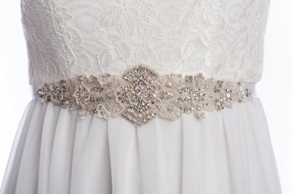 Mariage - wedding sash, DELPHINE wedding dress sash, Bridal belt, wedding belt, rhinestone beaded sash with ivory beads and silk petal - Style W-SB060