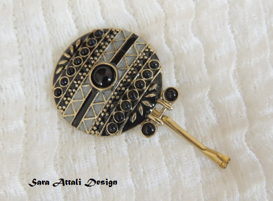 Hochzeit - Original Unique Hair Pin,bridal hairpin, jewelry, Bronze Hair Clip, Hair pin,Amazing Vintage Style Pin with Black Stone, Bobby Pins