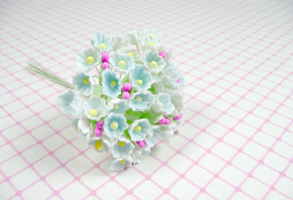 Mariage - Forget Me Not Flowers Pale Aqua Blue for Vintage Style Crafts Shabby Chic Millinery Dolls Weddings Scrapbooking