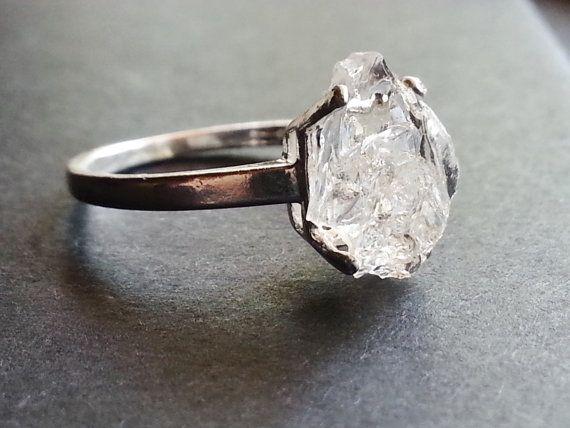 Raw Diamond Ring Natural Rough Uncut Gemstone Engagement Promise