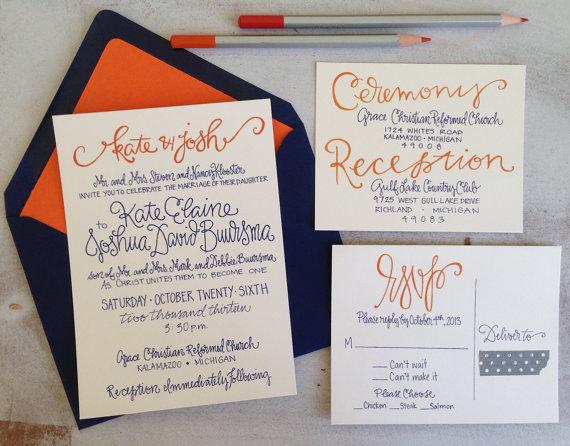 Hochzeit - Wedding Invitations Navy Orange