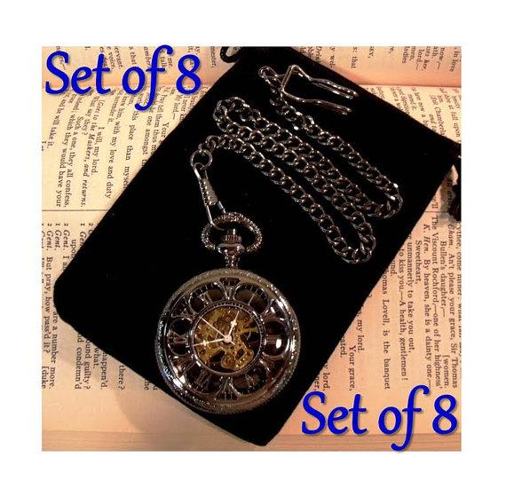 Свадьба - Set of 8 Personalized Engravable Gunmetal Black Pocket Watches Mechanical Groomsmen Gift Wedding Pocket Watch