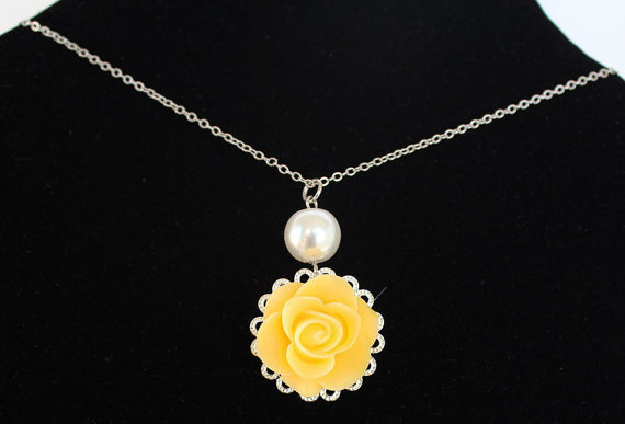 Hochzeit - Wedding necklace pearl necklace with yellow rose resin flower cabochon bridal jewelry bridesmaid necklace wedding gift ivory or white