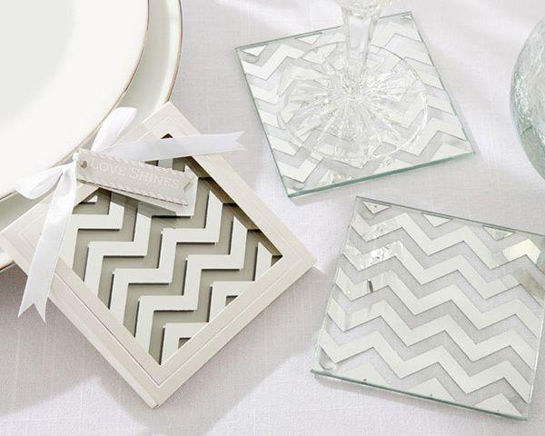 Свадьба - Chevron Design Glass Coaster Favors (Set Of 2)
