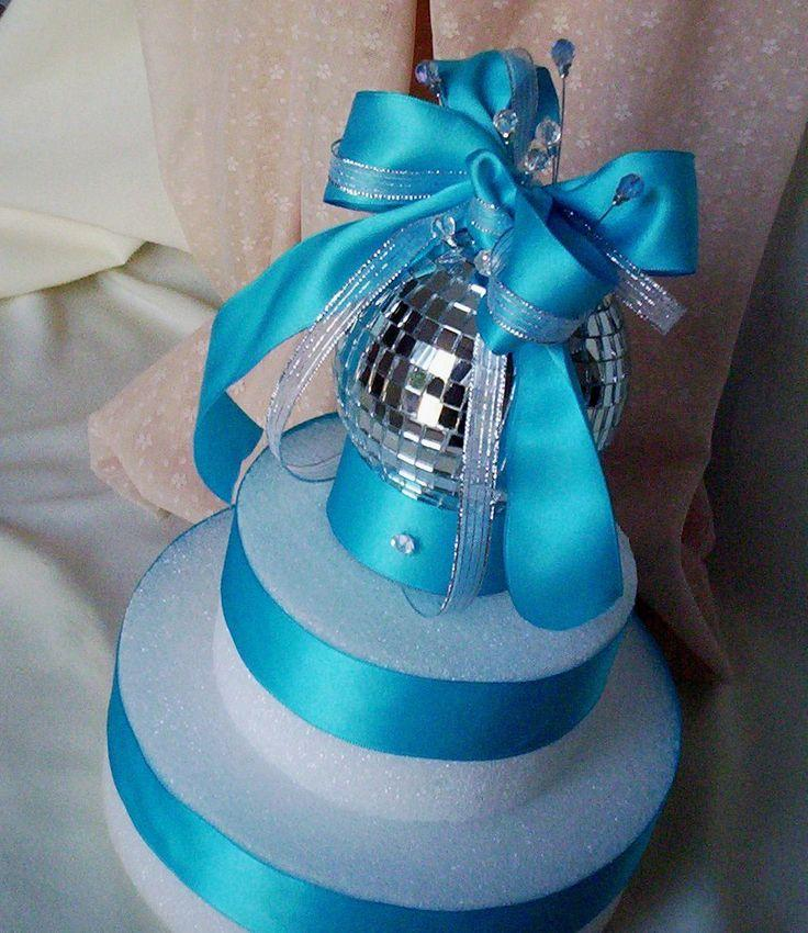 Свадьба - Mirror Ball Bouquet Cake Topper Disco Birthday Parties Turquoise Bridal Accessories New Years Weddings Festive Decoration Anniversaries
