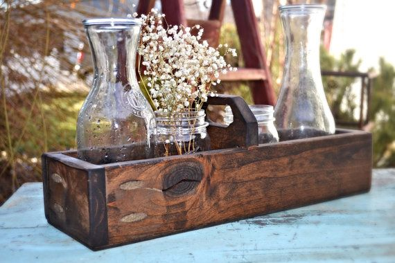 Groovy Rustic Wood Box Centerpiece Rustic Wedding Centerpiece Download Free Architecture Designs Viewormadebymaigaardcom