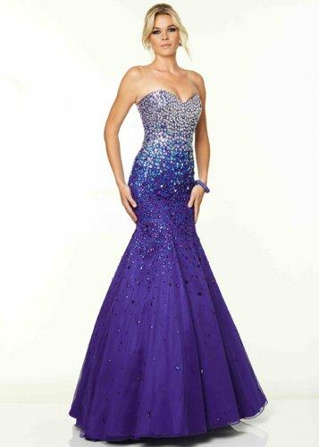 Wedding - 2015 Deep Royal Strapless Beaded Corset Back Prom Dress [Mori Lee 97050 Deep Royal] - $209.00
