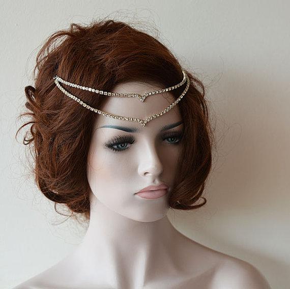 Hochzeit - Wedding Headband, Wedding head chain, hair jewelry, Wedding Rhinestone Headband, Wedding Headchain, Wedding Hair Accessories