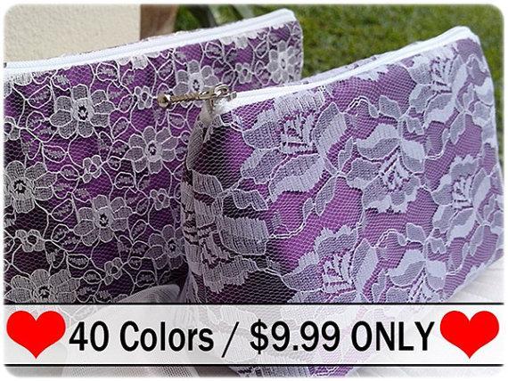 Mariage - Wedding essential , Eggplant Color Wedding Shower bridesmaid gift, bridesmaid clutch cosmetic bag zipper pouch