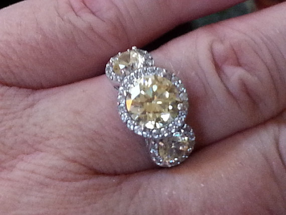 Vintage 3 Stone Anniversary Ring Canary Yellow Halo Style Ring
