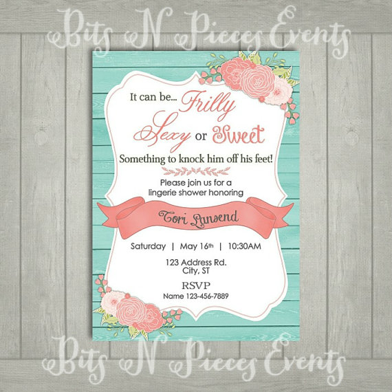 زفاف - Teal and Coral Lingerie Party Invitation. Lingerie Shower Invite. Barn Bridal Shower. Teal Turquoise Flower Bridal Shower and Coral